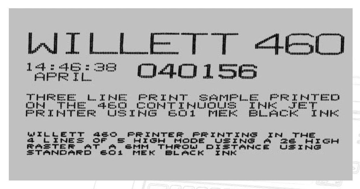 Каплеструйный маркиратор Willett 460 пример печати